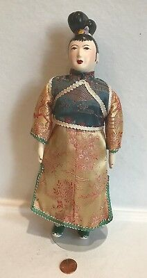 """Chinese Lady/Woman Doll~11"""" High~Lined Silk Gown,Pants & Shoes~Hand Painted"""