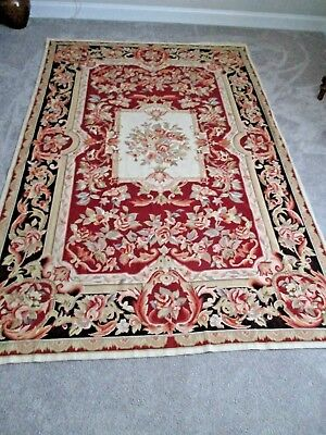 """Vintage Wool Needlepoint Rug Floral Aubusson Black / Red / Cream 8'9"""" x 5'8"""""""