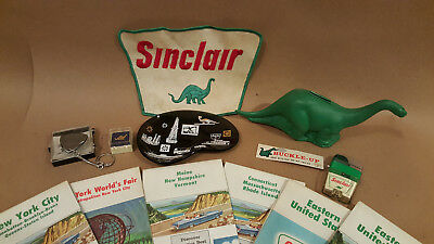 Lot of Sinclair Oil Items: Vu-Lighter, Ashtray, Dino Bank, Patch, Maps, Tie Pin