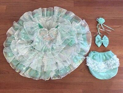 Vintage Pazazz USA Girl Sea Green Iridescent Layered Ruffle Dress Pageant Bow RS