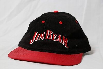 2969386ac79 VINTAGE JIM BEAM Whiskey Snapback Ball Cap Hat Black Red Embroidered ...