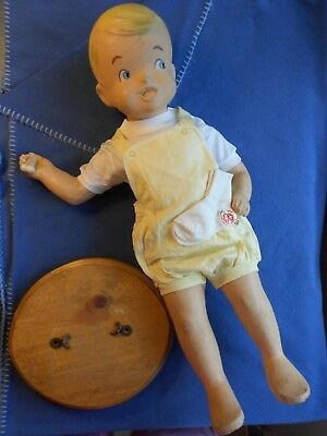 Vtg. Baby Buster Brown Mannequin, Rare holding a bone, NOS yellow outfit orig.
