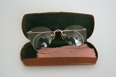 Antique Shuron Spectacles Eyeglasses with Case and Cleaning Cloth