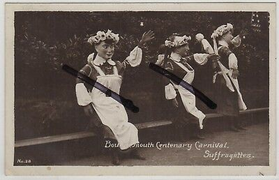 Bournemouth Centenary Carnival Suffragettes, Dorset: Social History: RP Postcard