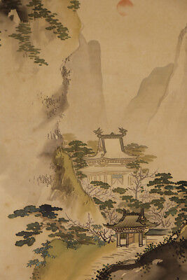 "JAPANESE HANGING SCROLL ART Painting ""Mt. Horai"" Asian antique  #E2484"