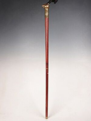 Chinese bronze mouse walking stick head handle custom-made wood crutched old