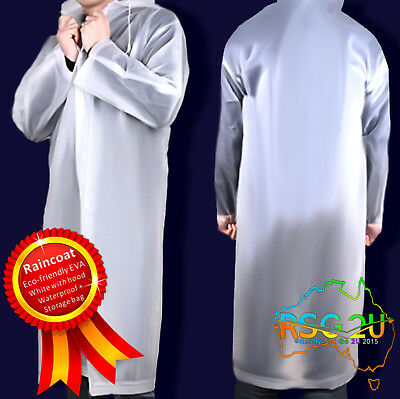 Waterproof Raincoat Hooded Adult Reusable Poncho Soft Eco Non Toxic Med & Large