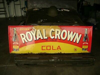 "Large Vintage RC Royal Crown Cola Soda Pop 54"" Embossed Metal Sign"