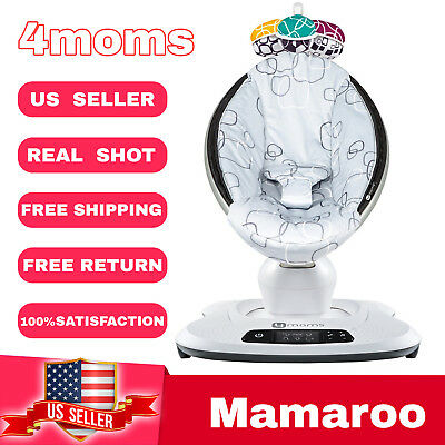 4Moms Mamaroo 4 Infant Reclining Seat Rocker Bouncer bluetooth 4.0 Silver Plush