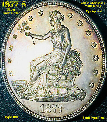 1877-S Trade Dollar - Large S (Breen-5813) **semi-Prooflike****high Au**