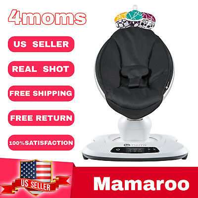 4Moms Mamaroo 4 Infant Reclining Seat Rocker Bouncer bluetooth 4.0 Classic Black