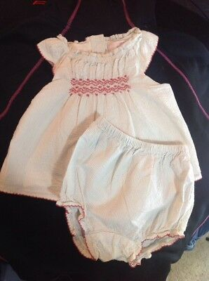 Baby Girls Janie And Jack 2 Piece Layette Dress With Bloomers Size 0-3 Months