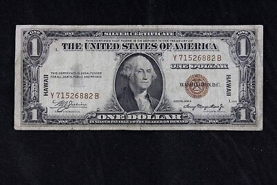 $1 HAWAII 1935A brown seal silver certificate Y71526882B one dollar FREE SHIP.