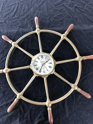 Vintage US Maritime Commission Nautical BRASS SHIP WHEEL CLOCK