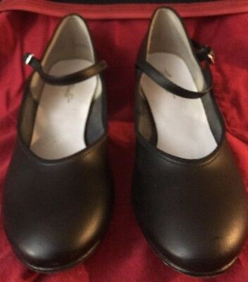 "Black Dance Shoes 1.5"" Heel Theatricals Leather Sole, Stage, Choir, Dance sz 5 M"
