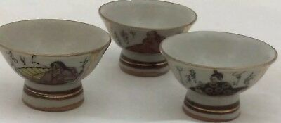 3 Small VTG Asian TEA CUPS Gold Trimmed Hand Painted Figurines & Writings