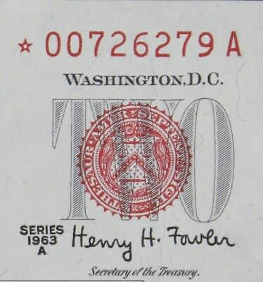 $2 1963A Star CU red seal US Note *00726279A series A, two dollar, FREE SHIPPING