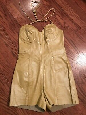 Deadstock Vintage Yellow Leather Romper/jumpsuit
