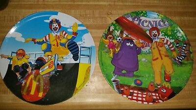 "McDonald's Collectors Melamine Dinner Plates  ""picnic"" and ""skateboard"" lot 2"