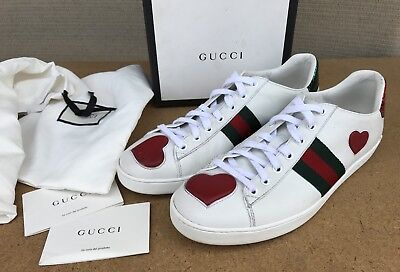 5a2cf40d651 GUCCI NEW ACE Web Heart White Leather Green Red Web Detail Sneaker Women  Size 41 -  380.00