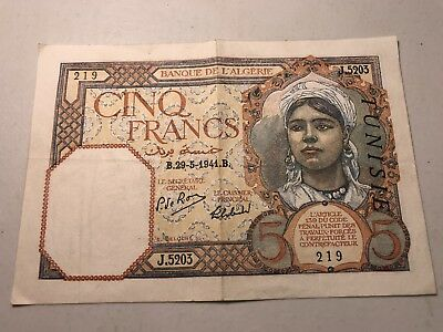 1941B Algeria 5 Francs world foreign paper money great condition center folded