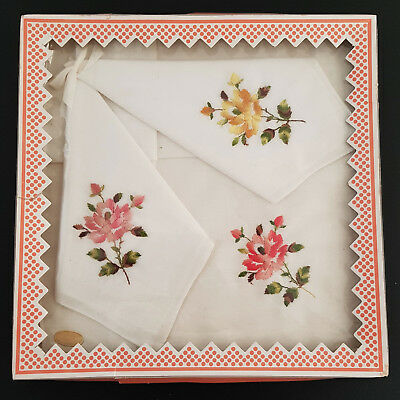 Vintage ~ Swiss Linen Handkerchief Set - Set Of 3 In Original Box