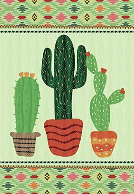 Morigins Green Columnar Cactus Double Sided Welcome Summer Garden Flag