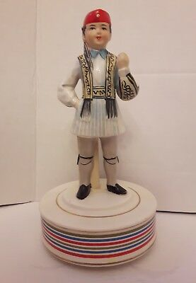 "Vintage Schmid Music Box Rotating Greek Boy Figurine Plays ""Never On Sunday"""
