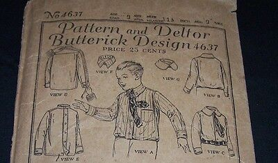 Antique Child Pattern-Butterick #4637-Boy Age 9-Dress Shirt-2Collars-1920's Era