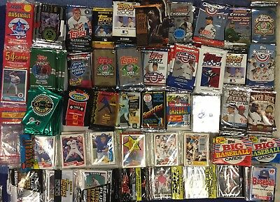 Old Baseball Cards - Unopened Packs Huge Vintage 100 Card Lot + Bonus