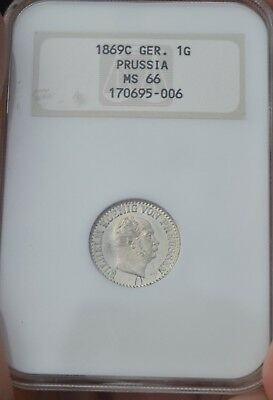 German States Prussia Old NGC  MS66 1869 C 1G Groschen, OH, OGH, starting at $19