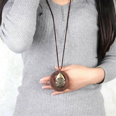 Women Fashion Jewelry Wood Pendant Necklace Long Waterdrop Sweater Chain
