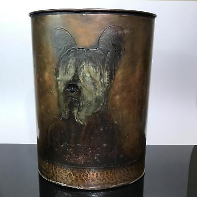 Signed Henry W. Longfellow Hammered Copper Shaggy Dog Waste Basket Trash Can Art