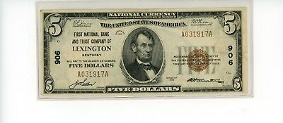 $5 1929 National Currency Lexington KY CH#906