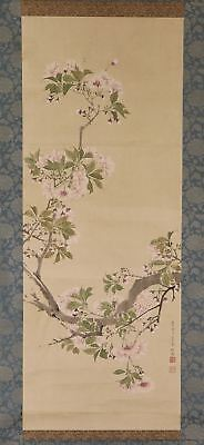 "JAPANESE HANGING SCROLL ART Painting ""Blossoms"" Asian antique  #E2499"