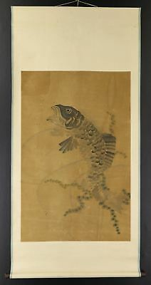 "JAPANESE HANGING SCROLL ART Painting ""Carp"" Asian antique  #E2511"