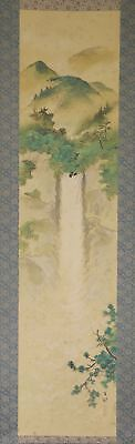 "JAPANESE HANGING SCROLL ART Painting Scenery ""Waterfall"" Asian antique  #E2500"