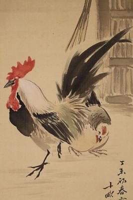 "JAPANESE HANGING SCROLL ART Painting ""Chicken"" Asian antique  #E2514"
