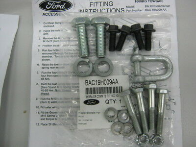Genuine Ford Ba Bf Fg Falcon Ute Towbar Bolt Fitting Kit Includes Tongue Bolts