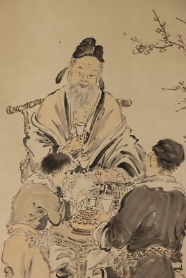 "JAPANESE HANGING SCROLL ART Painting ""Chinese wisemen"" Asian antique  #E2490"