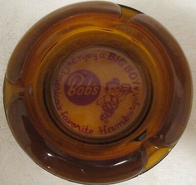 Shoneys Big Boy Bobs restaurant amber ashtray Enjoy America's favorite hamburger