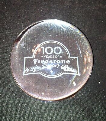 """""""FIRESTONE 100 YEARS OF RACING"""" CLEAR GLASS PAPER WEIGHT 1.5 lb """" INDY 500 """""""