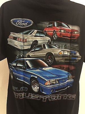 Ford Mustang T-Shirt - Black w/ Four Ford Fox Body Mustang 5.0 (Licensed)