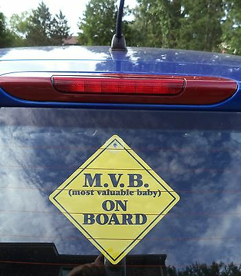 Most Valuable Baby On Board Vehicle Car  Safety Sign grip suction cup NEW