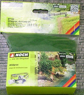 NOCH HO + N scale ~ 6mm GRASS FIBRE 'DARK GREEN' ~ suit model train #07106