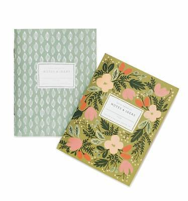 RIFLE PAPER CO. Moss Garden Pocket Notebooks Floral Gift Stationery - Set of 2