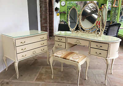 Vintage Louis Style Kidney Shaped Dressing Table, Mirror, Stool U0026 Set Of  Drawers