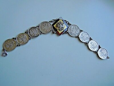 SELTEN imperial RUSSIAN Coins Armband mit Emaille-Emblem, Romanov dynastie WW I