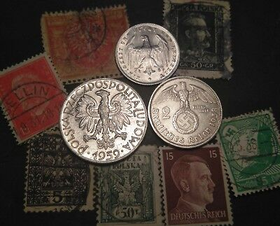ERROR SILVER 1923 1938-A 1959 Poland 3rd Reich German 2 mark 5 Zt coin stamp lot
