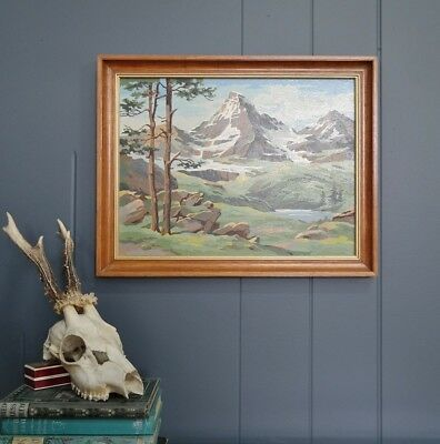VINTAGE Mid Century Quirky Alpine Scene :: Paint by Numbers :: Framed RETRO